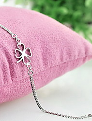 cheap -Silver Plated Flower Chain Bracelet - Fashion Four Leaf Clover Silver Bracelet For Gift