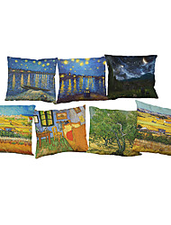 Set of 7 Van Gogh painting pattern   Linen Pillowcase Sofa Home Decor Cushion Cover