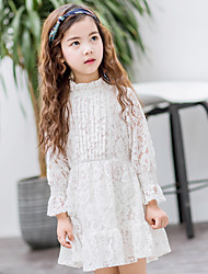 cheap -Girl's Sports Solid Dress,Cotton Spring Fall Long Sleeve Lace White Blushing Pink