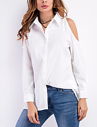cheap -Women's Going out Beach Casual Sexy Shirt,Solid Shirt Collar Long Sleeves Polyester