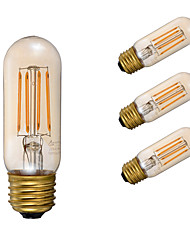 E26 Lâmpadas de Filamento de LED T 4 COB 300 lm Âmbar 2200 K Regulável Decorativa AC 110-130 V