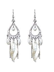abordables -pendientes de perlas huecas estilo retro moda popular largo deja estilo elegante