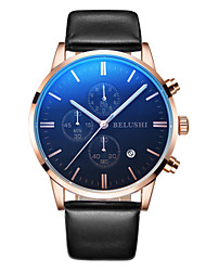 cheap -Men's Sport Watch / Wrist Watch Chinese Calendar / date / day / Water Resistant / Water Proof / Large Dial Genuine Leather Band Charm / Casual / Fashion Black / Two Years / Maxell SR626SW