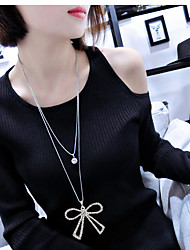 Women's Pendant Necklaces Rhinestone Simulated Diamond Alloy Bowknot Double-layer Fashion Silver Jewelry Party Daily 1pc