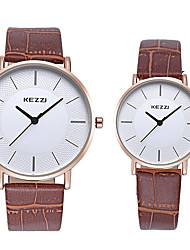 cheap -KEZZI Couple's Quartz Wrist Watch / Imitation Diamond Leather Band Casual Fashion Cool Black White Brown