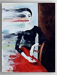 Oil Painting a Woman Sitting on a Desk Hand Painted Canvas Painting with Stretched Framed Ready to Hang