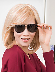 Beautiful Shoulder Length Bob Hairstyles Capless Human Hair Wigs Natural Straight Human Ombre Blends Hair for Women 2017