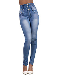 cheap -Women's Skinny Jeans Pants - Solid, Fashion Holiday High Rise