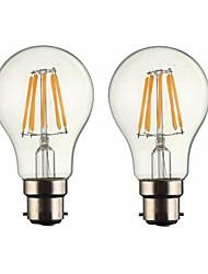 cheap -ONDENN 2pcs 5W 500-600lm B22 LED Filament Bulbs G60 6 LED Beads COB Dimmable Warm White 110-130V 220-240V