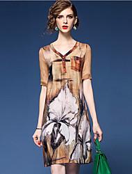 Trapèze Robe Femme Sortie Sophistiqué,Imprimé Col en V Au dessus du genou Manches Courtes Marron Polyester Printemps Eté Taille Normale