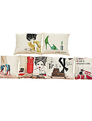 cheap -6 pcs Linen Pillow Case, Solid Textured Beach Style Bolster Traditional/Classic