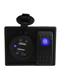 dc 12v / 24v levou 3.1a digital de tomada do carregador Dual USB com fios jumper interruptor de balancim e titular de habitação
