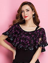 Ballroom Dance Tops Women's Training Viscose Embroidery 1 Piece Short Sleeve Natural Top
