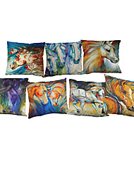 "Set of 7  Fashion Colorful Horse Cushion Cover Linen Thow Pillow Cover(18""*18"")"