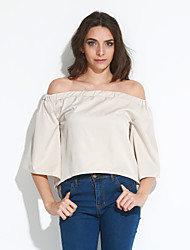 Tee-shirt Aux femmes,Couleur Pleine Sortie / Soirée / Cocktail Sexy / Chic de Rue Eté / Automne Manches ¾ Sans Bretelles Rouge / Beige