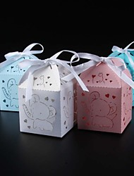 cheap -Round Square Cuboid Card Paper Pearl Paper Favor Holder with Ribbons Printing Favor Boxes - 25