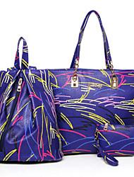 Women Bags All Seasons PU Bag Set 3 Pcs Purse Set Rivet for Casual Outdoor Office & Career Blue White Black Red