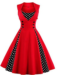 cheap -Women's Plus Size Going out Vintage Cotton A Line Dress - Solid Colored / Polka Dot