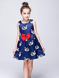 A-Line Knee Length Flower Girl Dress - Nylon Taffeta Sleeveless Scoop Neck with Pattern / Print by YDN