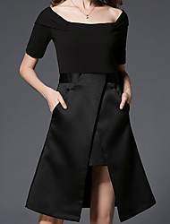 Women's Going out Casual/Daily Work Cute Street chic Sophisticated Sheath Little Black Dress,Solid Boat Neck Knee-length Asymmetrical