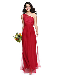 cheap -Sheath / Column One Shoulder Floor Length Lace Tulle Bridesmaid Dress with Ruching by LAN TING BRIDE®
