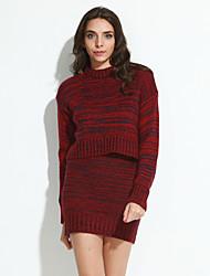 Damen Zweiteiler Strickware Kleid-Lässig/Alltäglich Street Schick Solide Rundhalsausschnitt Mini Langarm Acryl Herbst WinterMittlere