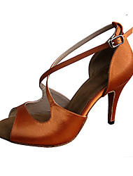 Women's Latin Jazz Salsa Swing Shoes Satin Sandal Heel Practice Beginner Professional Indoor Performance Sequin Buckle Customized Heel