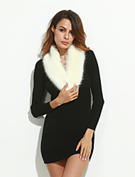 Women's Going out Vintage Sleeveless Winter White Faux Fur