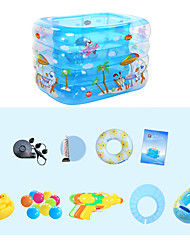 cheap -Children's Home Use Paddling Pool Large Size Inflatable Square Swimming Pool Heat Preservation Kids Paddling Pool Four Layer 140X110X70 CM