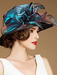 cheap -Flax Silk Organza Hats Headwear with Floral 1pc Special Occasion Casual Outdoor Headpiece