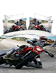 Mingjie 3D Reactive Print Motorcycle Football City Landsca Bedding Sets 4 Pcs for Queen Size Contain 1 Duvet Cover 1 Bedsheet 2 Pillowcases from China