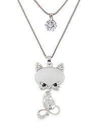 cheap -Women's Rhinestone Imitation Diamond Pendant Necklace - Cute Style Fashion Double-layer Cat Animal Necklace For Party Daily