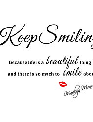 Keep Smiling Wall Stickers Marilyn Monroe Quote Motivation Wall Decals Red Lips for Love