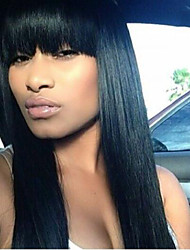 Lace Front Wig Brazilian Virgin Human Hair Yaki Straight Wig For African American Women