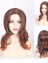 Brown Ombre Fashion Daily Wig Heat Resistant Curly Wave Middle Length Synthetic for Ladies Wearing Wig
