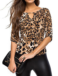 cheap -Women's Rayon Polyester T-shirt - Leopard V Neck