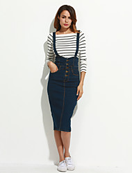cheap -Women's Daily Midi Skirts,Cute Pencil Cotton Solid Spring