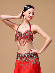 Belly Dance Outfits Women's Performance Cotton Polyester Beading Buttons Crystals/Rhinestones Sequins 2 Pieces Dropped Bra Waist Belt