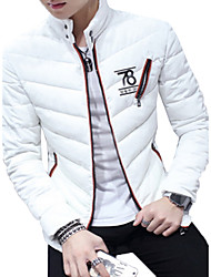 Men's Regular Padded Coat,Simple Going out Beach Holiday Solid-Cotton Cotton Long Sleeves