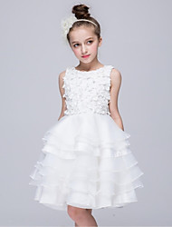 cheap -Ball Gown Knee Length Flower Girl Dress - Organza Sleeveless Jewel Neck with Applique by YDN