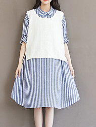 cheap -Women's Plus Size Going out Cotton Loose Dress - Striped Asymmetrical Shirt Collar / Fine Stripe