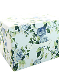 RayLineDo® 26L Simulated Lining Durable Fabric Foldable Storage Box Clothes Blanket Closet Sweater Organizer Canvas with Flowers in Blue