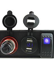 Недорогие -DC 12V / 24v водить 4.2а Dual USB зарядное устройство сигареты питания вольтметра розетка с Кулисный перемычек и держатель корпуса