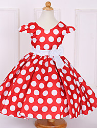 cheap -Girl's Polka Dot Dress, Cotton Polyester Spring Summer Short Sleeves Bow Blue Red Blushing Pink