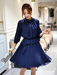 Women's Going out Casual/Daily Work Vintage Street chic Sophisticated Sheath Skater Shirt Dress,Solid Beaded Ruffle Ruched Pleated Stand