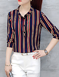 cheap -Women's Formal Work Plus Size Casual Street chic All Seasons Shirt,Striped Shirt Collar Long Sleeves Others