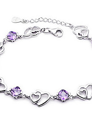 cheap -Women's Crystal Sterling Silver Crystal Chain Bracelet - Basic Love Fashion Jewelry Purple Bracelet For Wedding Party Gift Daily