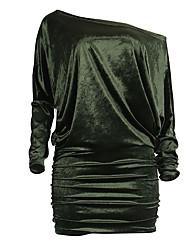 Femme Velours Moulante Robe Soirée Soirée Sexy simple,Couleur Pleine Bateau Mini Manches Longues Rouge Vert Or PolyesterPrintemps