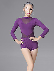 cheap -Latin Dance Leotards Women's Training Chinlon Viscose Splicing 1 Piece Long Sleeve Leotard