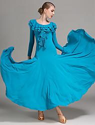 Ballroom Dance Dresses Women's Performance Lace Milk Fiber Ruffles 1 Piece Long Sleeve Natural Dress